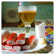 Крабовые палочки, пиво, мука, сырок дружба, яйца, чеснок